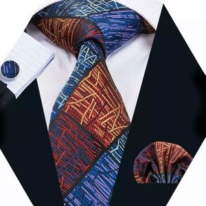 Other - Men's Silk Coordinated Tie Set, Multi-Colored